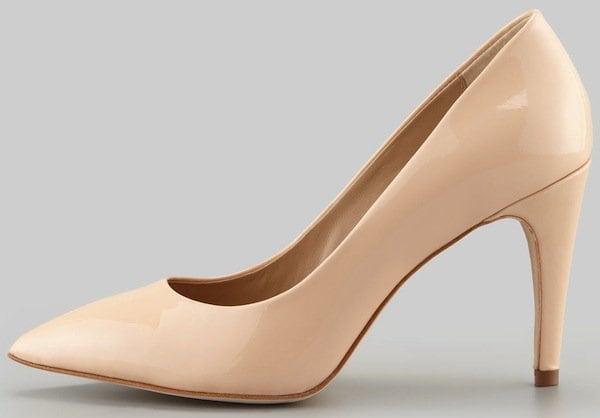 """Diane Von Furstenberg Nude """"Anette"""" Patent Pointed Toe Pump"""