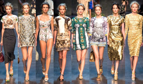 Models showing off Dolce & Gabbana's latest creations from the brand's Spring/Summer 2014 ready-to-wear collection