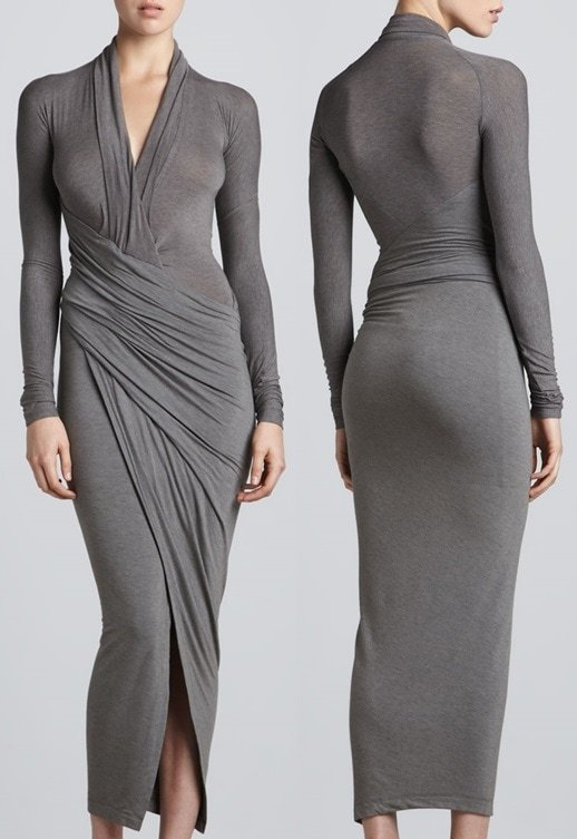 Donna Karan Draped Plunging Neck Midi Dress