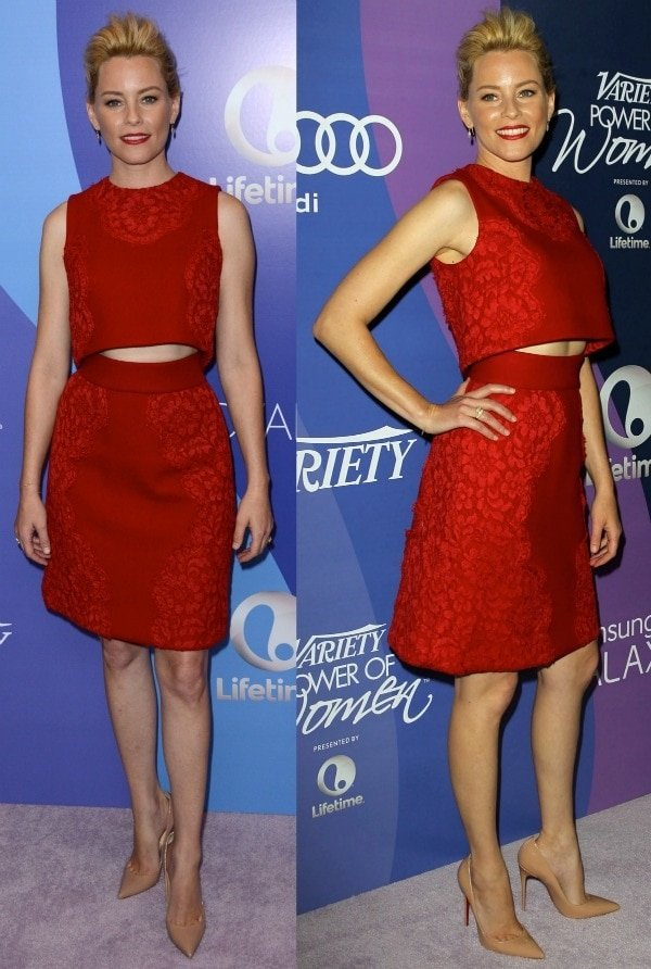 Elizabeth Banks wore a two-piece number from the Dolce & Gabbana Fall 2013 collection and nude pumps from Christian Louboutin