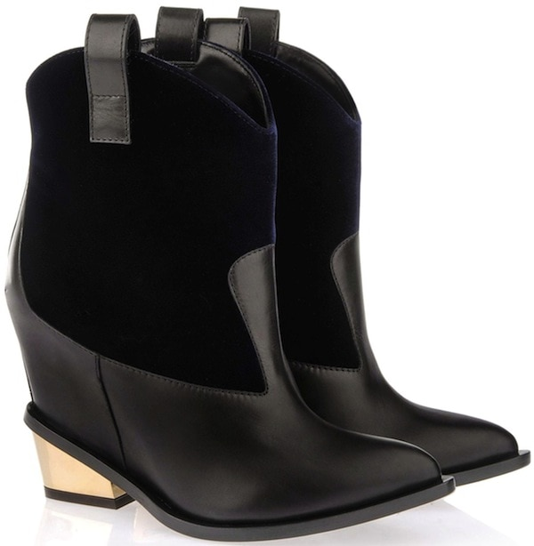 Giuseppe Zanotti Ankle Booties in Black Calfskin with Gold Chunky Heels
