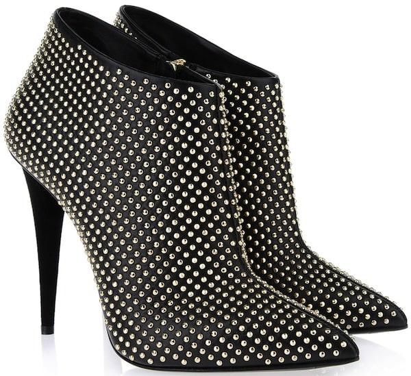 Giuseppe Zanotti Studded Black Nappa Leather Ankle Boots