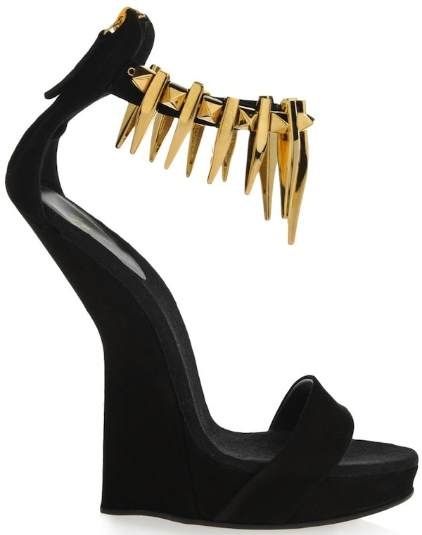 Giuseppe Zanotti Black Suede Sculpted Wedges with Gold Ankle Straps