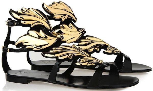 """Giuseppe Zanotti Flat Patent Leather """"Firewings"""" Sandals"""