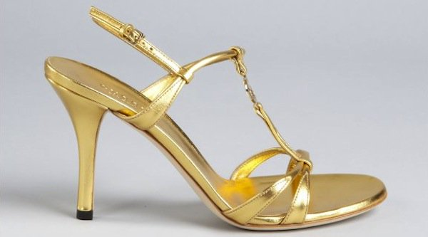 Gucci Gold Leather Strappy Sandals