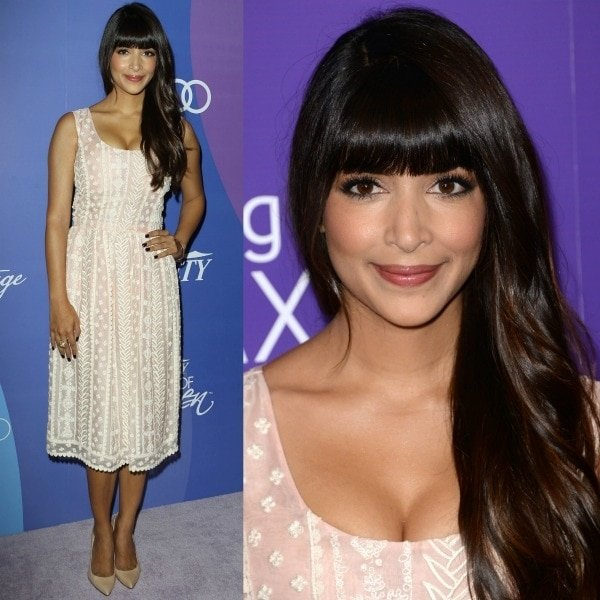 Hannah Simone looked lovely in a pale pink sleeveless frock from Oscar de la Renta