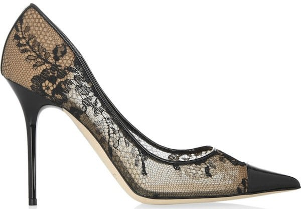 "Jimmy Choo ""Amika"" Lace and Mesh Pumps"