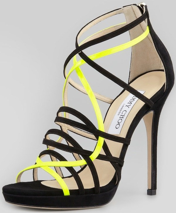 """Jimmy Choo """"Myth"""" Suede Sandals in Black with Neon Yellow Straps"""