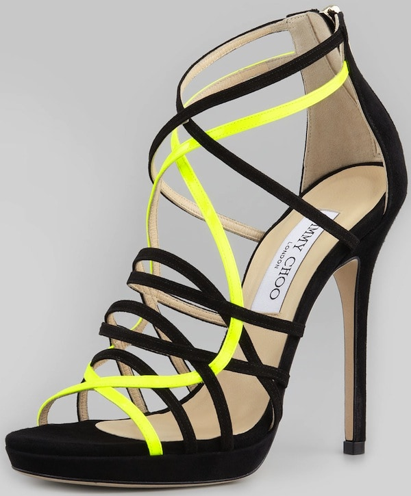 "Jimmy Choo ""Myth"" Suede Sandals in Black with Neon Yellow Straps"