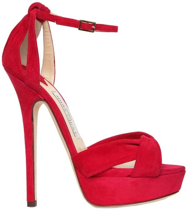 """Jimmy Choo """"Greta"""" Suede Sandals in Red"""