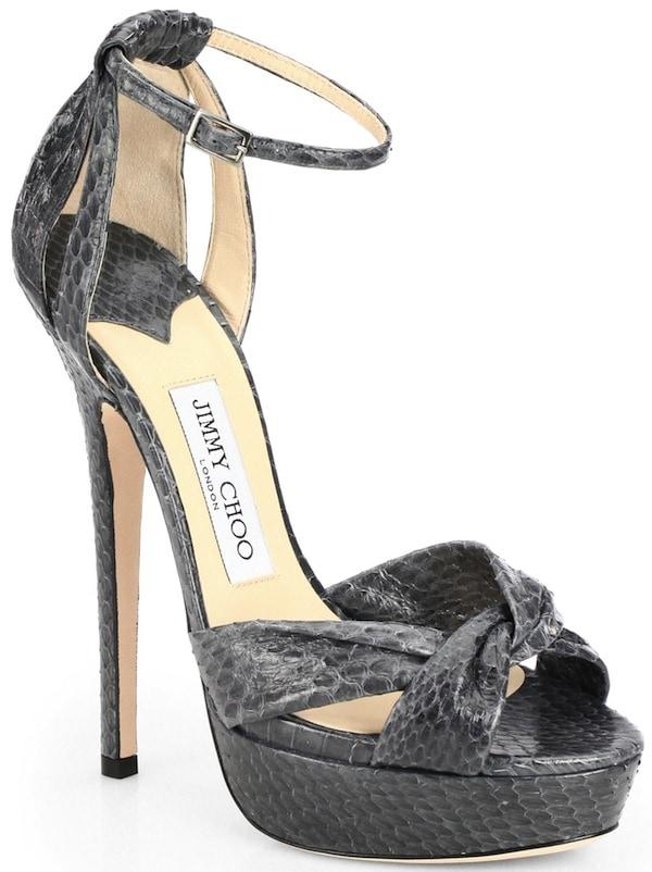 "Jimmy Choo ""Greta"" Snakeskin Platform Sandals"