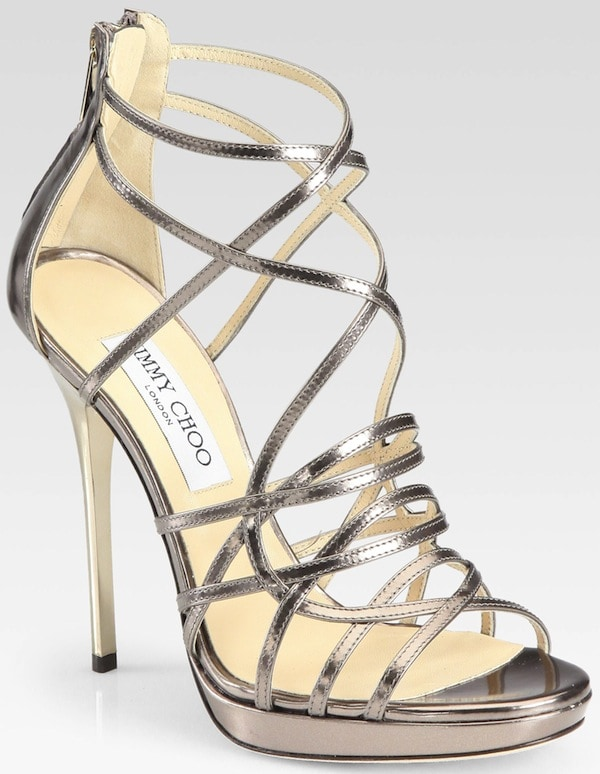 "Jimmy Choo ""Myth"" Mirror Leather Platform Sandals in Light Bronze"