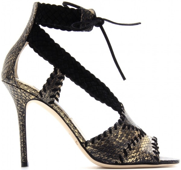 Jimmy Choo Taper Snakeskin Stiletto Sandal