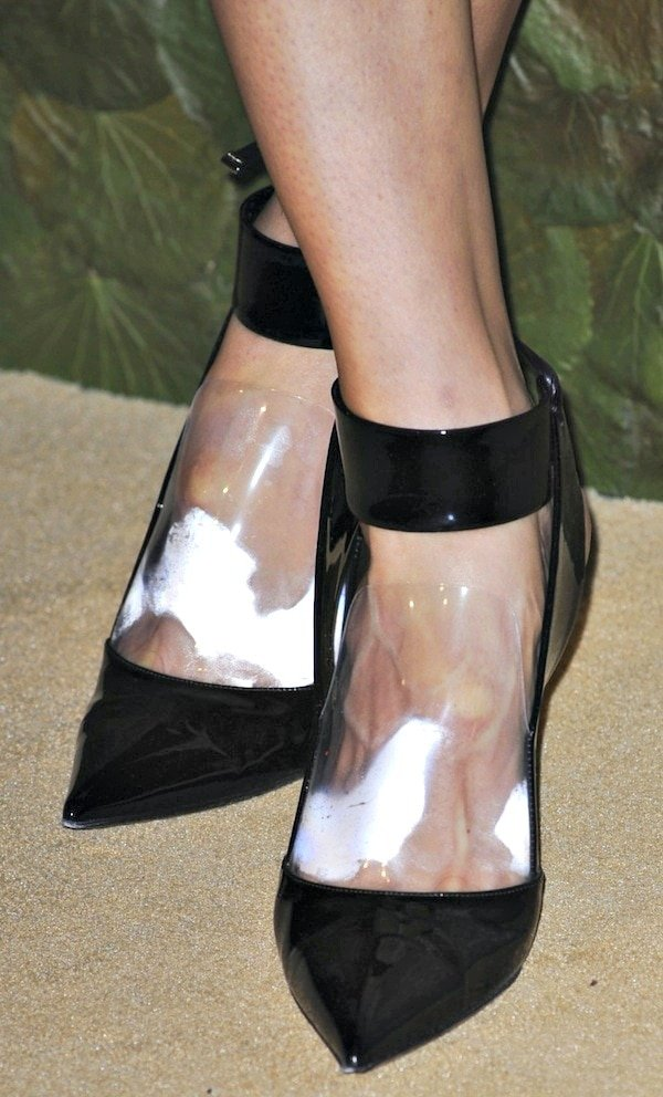 Karolina Kurkova's ankle-strap pumps with transparent PVC details