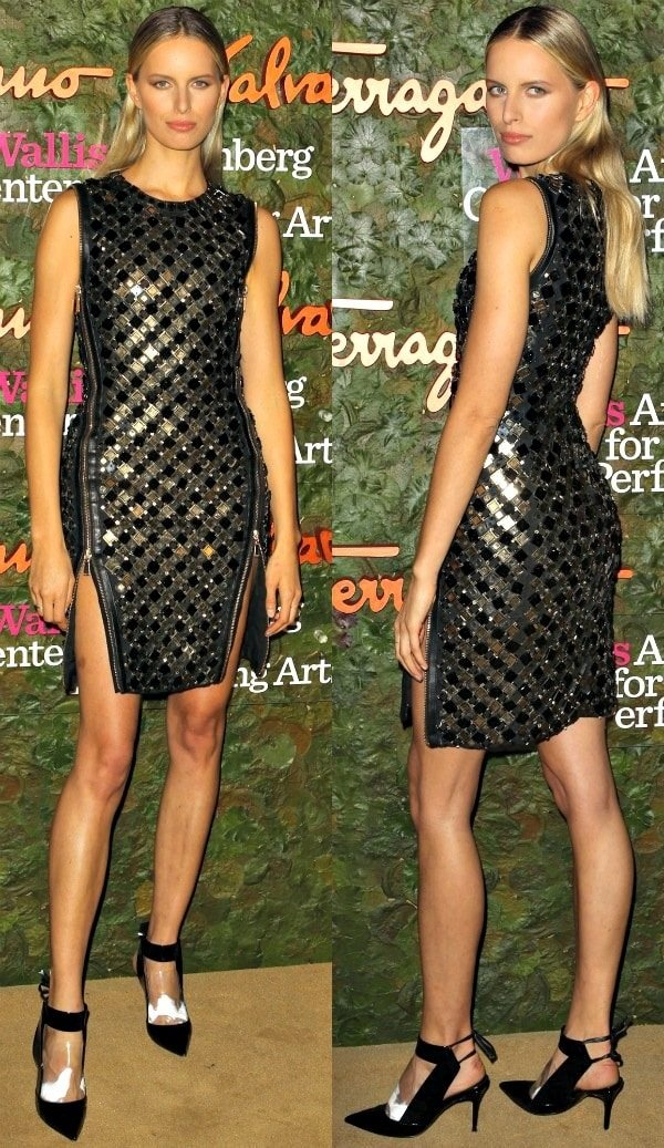 Karolina Kurkova in a black-and-gold metallic cocktail dress at the 2013 Wallis Annenberg Center for the Performing Arts Inaugural Gala
