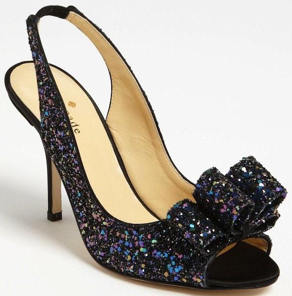 "Kate Spade ""Charm"" Slingback Pump in Black Multi Glitter"