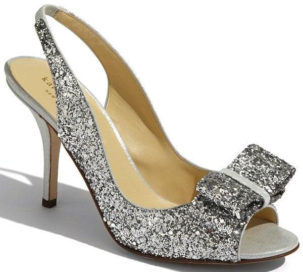 "Kate Spade ""Charm"" Slingback Pump in Silver Glitter"