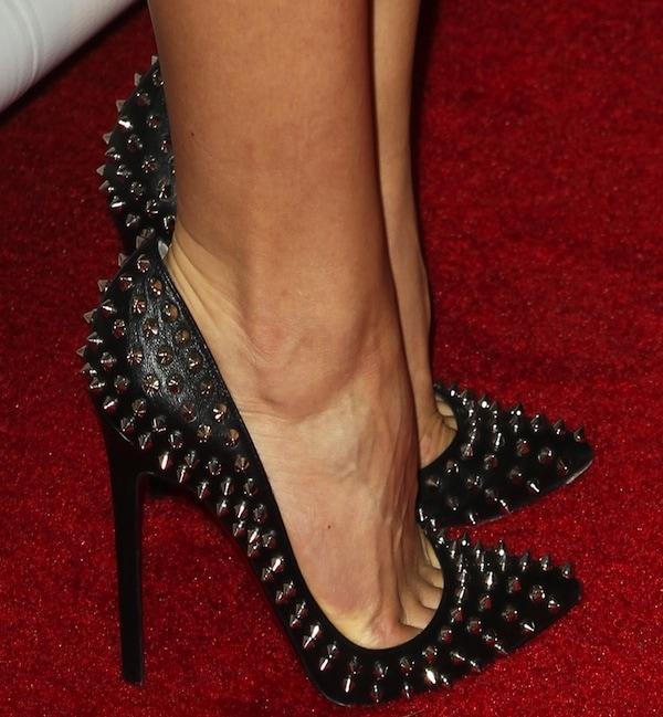 Katharine McPhee wearing black Pigalle Spikes pumps