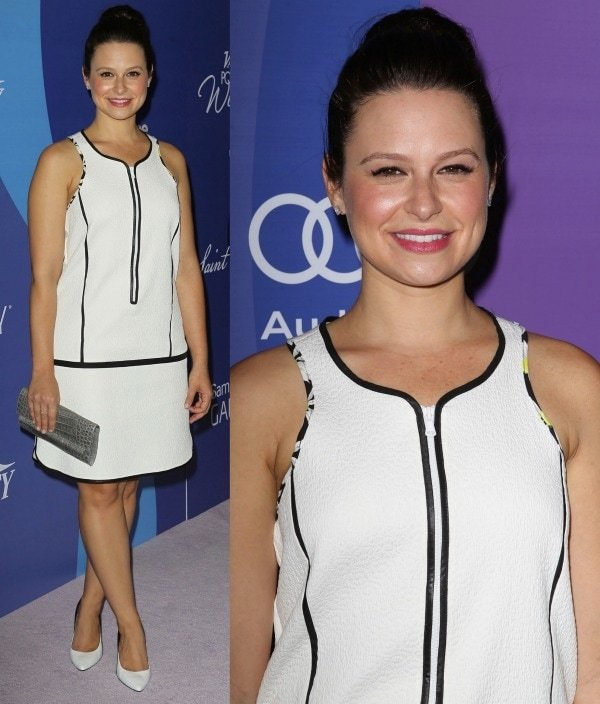 Katie Lowes looked chic in her white sleeveless Sportmax dress and L.K. Bennett pumps