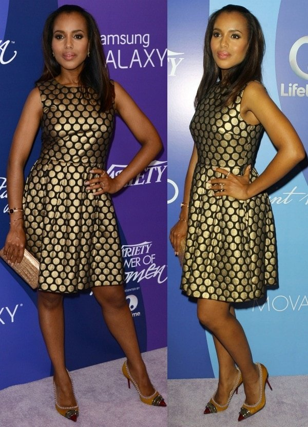 Kerry Washington looked stunning, as always, in a Vince Camuto jacquard dress with gold polka dots and studded pumps from Christian Louboutin
