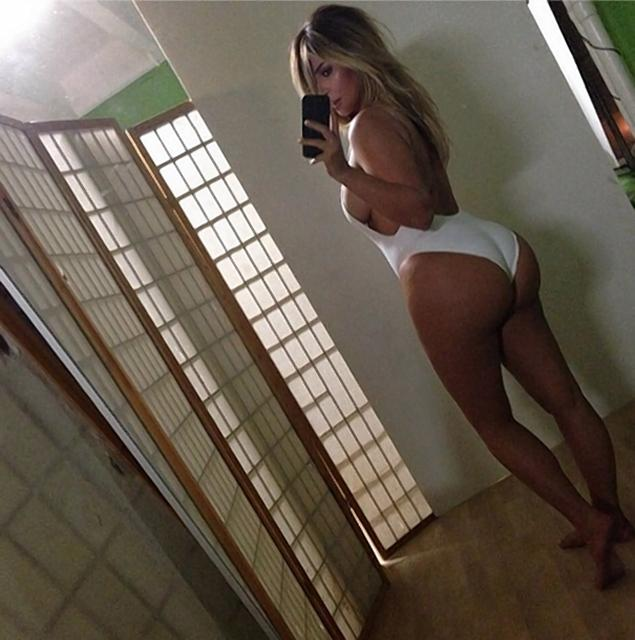 Kim Kardashian's picture of herself in a sexy swimsuit shared on Instagram