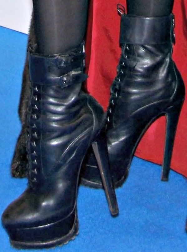 Lady Gaga wearing Azzedine Alaïa leather lace-up platform boots