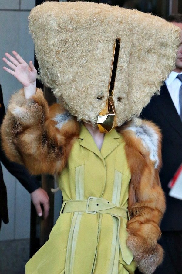 Her gigantic fur-covered headpiece was from the haute couture Fall/Winter 2013 collection of Charlie Le Mindu
