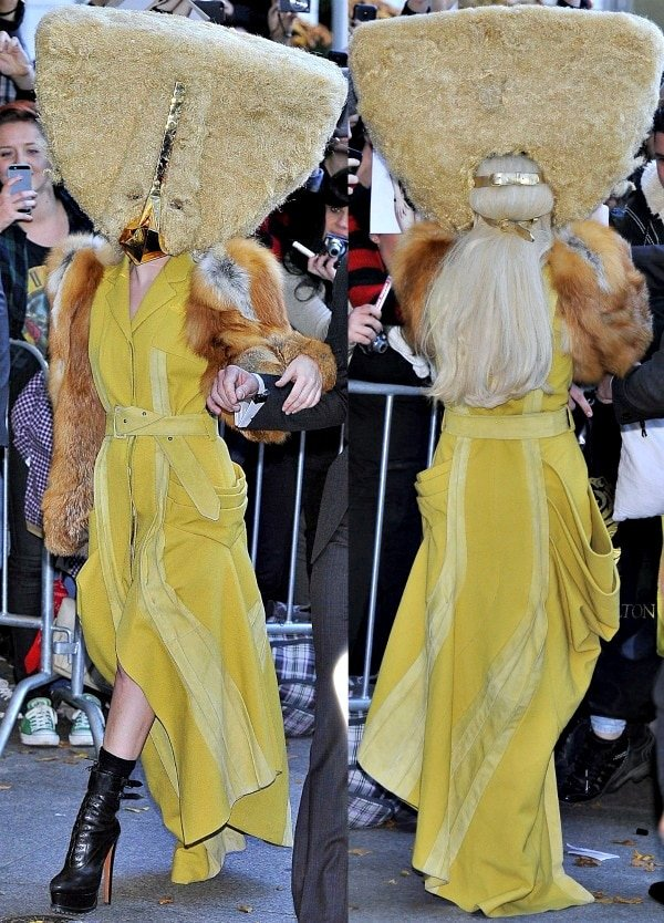 Lady Gaga was spotted leaving her hotel wearing a triangular mask that covered up her entire face
