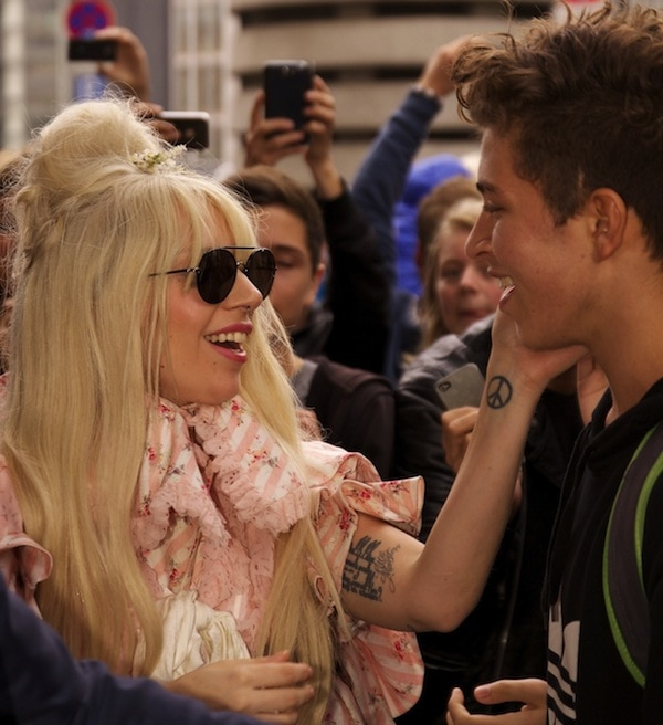 Lady Gaga greeting her fans outside of her hotel at the Ritz Carlton in Berlin, Germany, on October 23, 2013