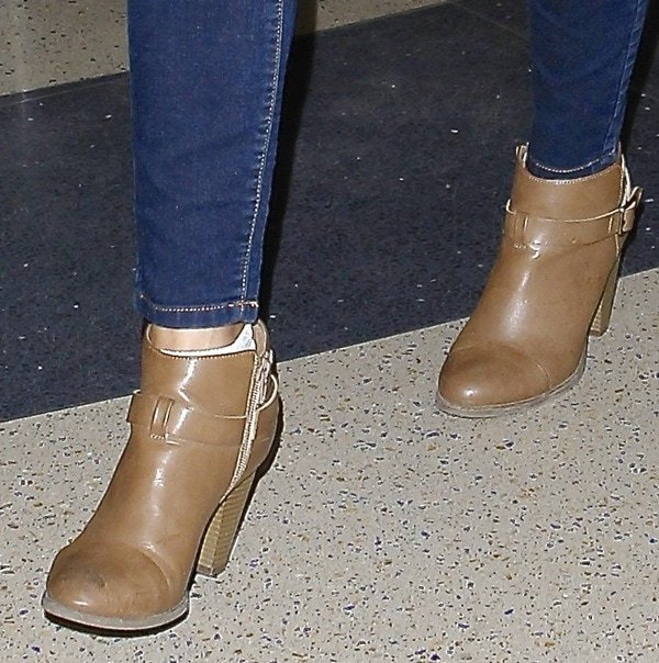 Lauren Conrad wears ankle boots from her eponymous fashion line Lc Lauren Conrad