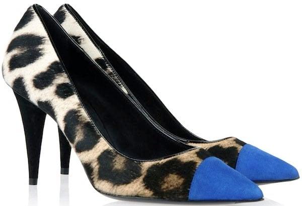 Leopard Print Pony Hair with Blue Suede Cap-Toe Pumps
