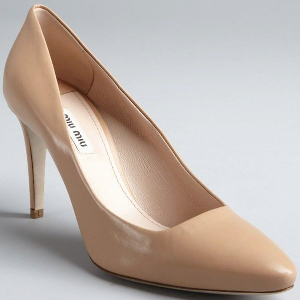 Miu Miu Nude Leather Pointed Toe Pump