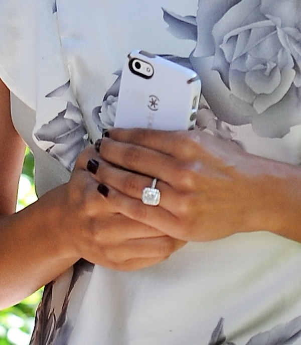 Naya Rivera flashing her engagement ring while wedding dress shopping