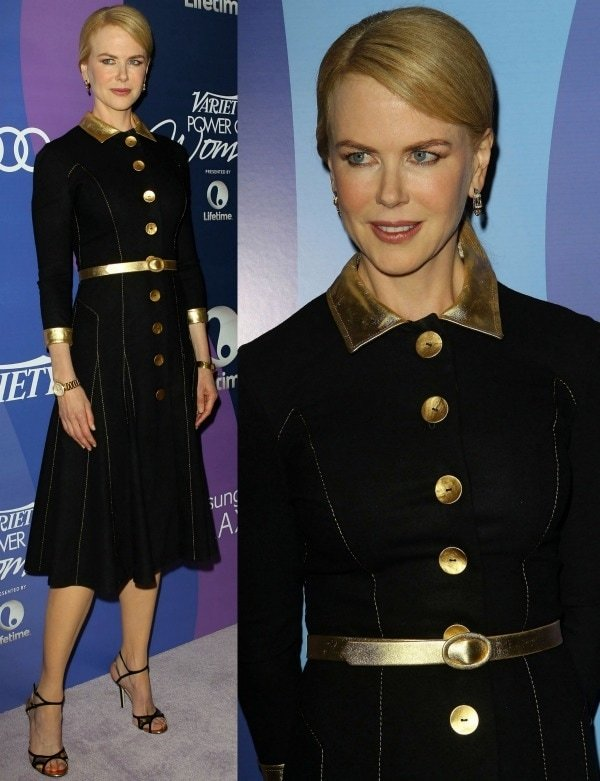 Nicole Kidman looked elegant in a black dress with gold details from the L'Wren Scott Fall 2013 collection and black-and-gold Christian Louboutin 'Rumba' sandals from Jimmy Choo