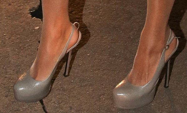 Paris Hilton wearing gray YSL Tribtoo slingback pumps