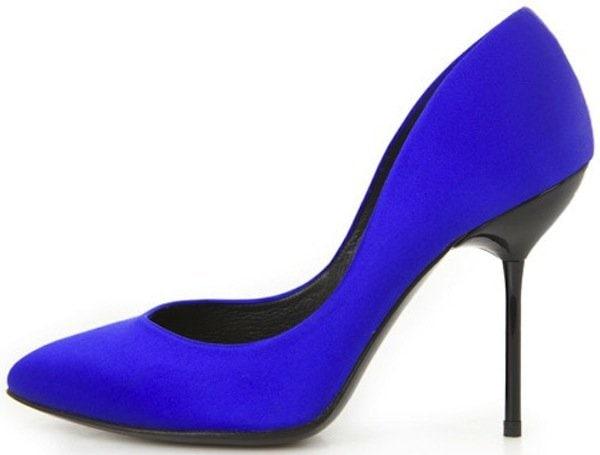 "Pedro Garcia ""Rosette Heel"" in Cobalt Satin"