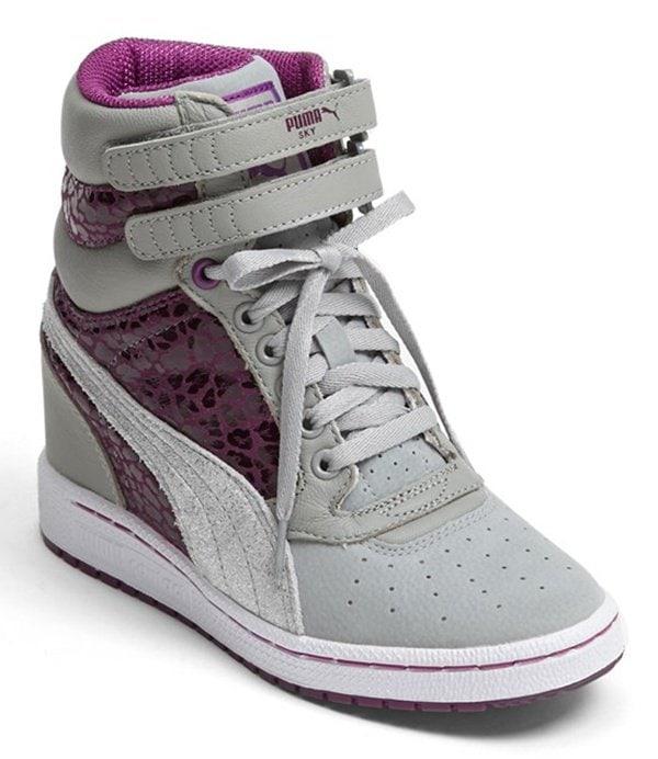 Puma Sky Wedge Sneakers in Gray/Purple