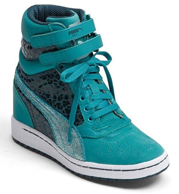 Puma Sky Wedge Sneakers in Teal/Green