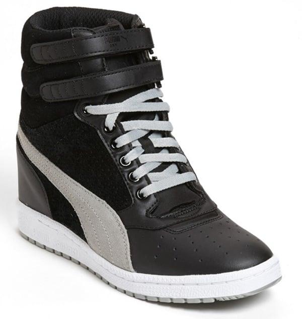 Puma Sky Wedge Sneakers in Black/White