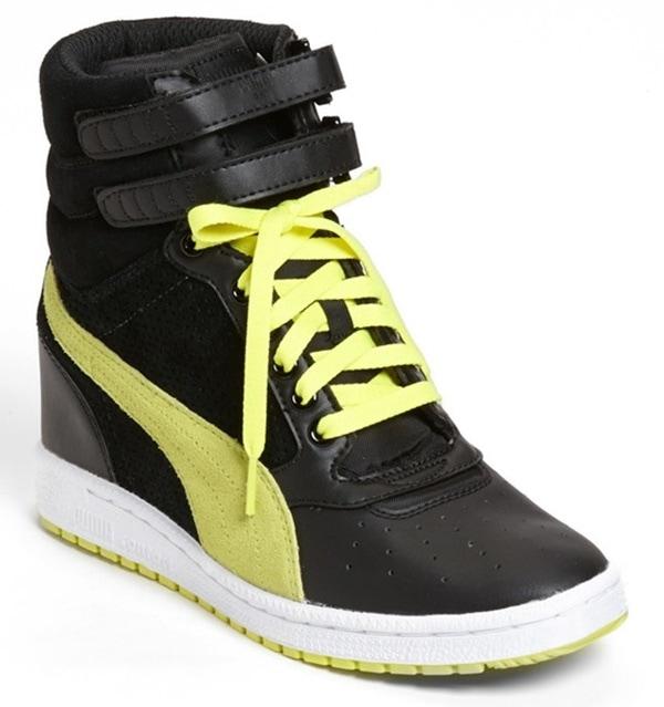 Puma Sky Wedge Sneakers in Black/Yellow