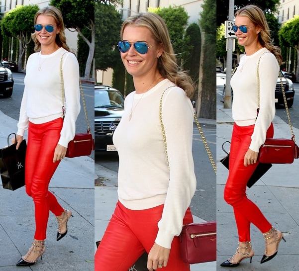Rebecca Romijn  in Red Leather Pants