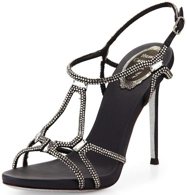 Rene Caovilla Slingback Sandal With Crystals