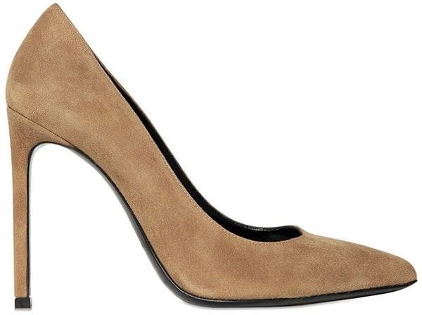 saint laurent paris pumps in light brown suede