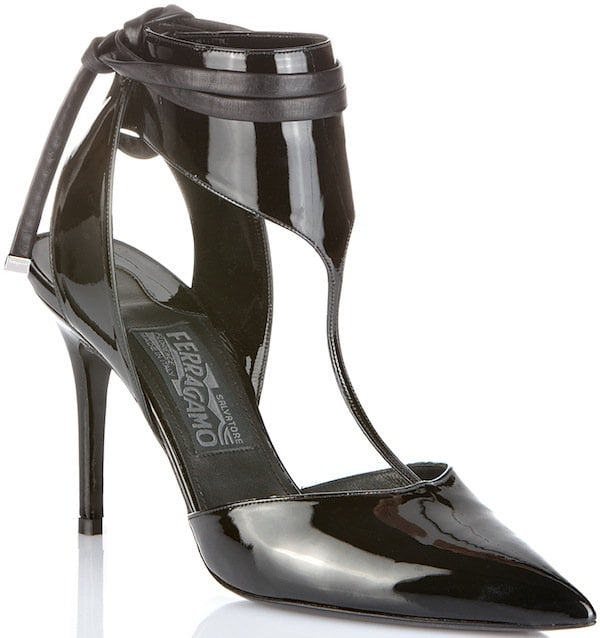 Salvatore Ferragamo T-Strap Pump in Black