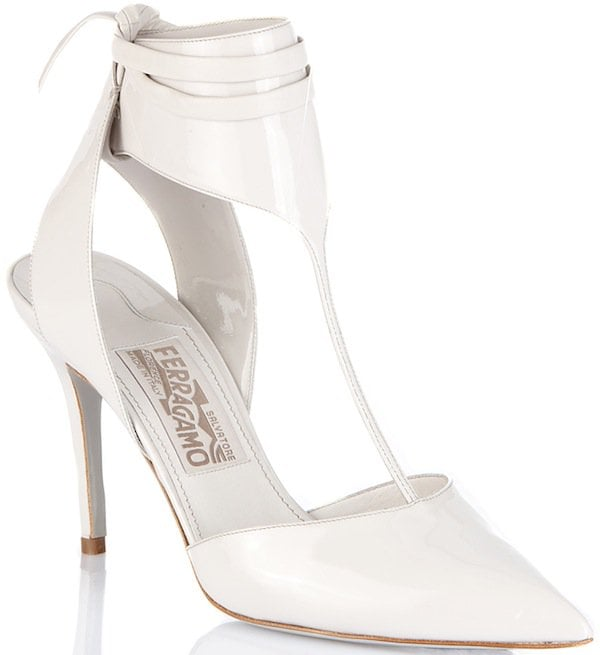 Salvatore Ferragamo T-Strap Pump in White