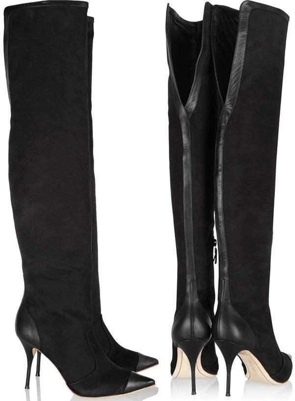 sophia webster hallie over-the-knee boots in black nubuck 4-horz