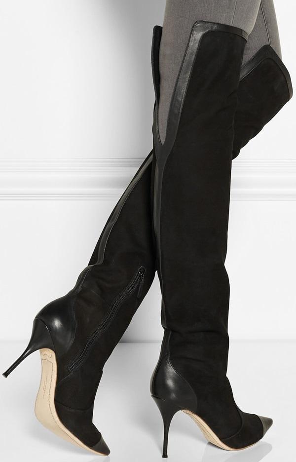 sophia webster hallie over-the-knee boots in black nubuck