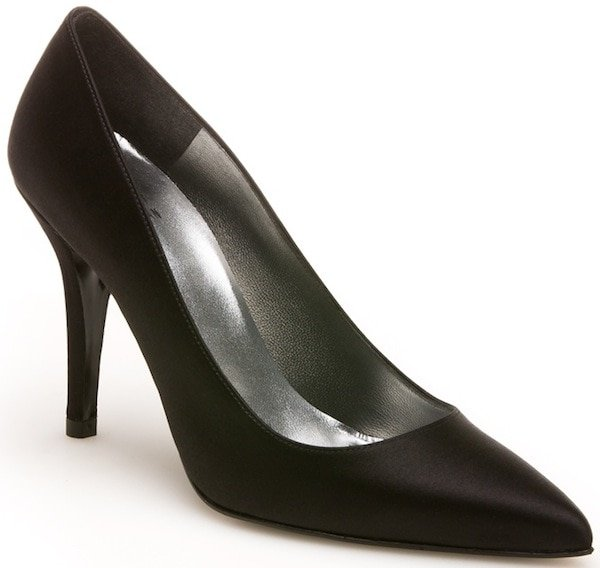 "Stuart Weitzman ""Daisy"" Pump in Black Satin"