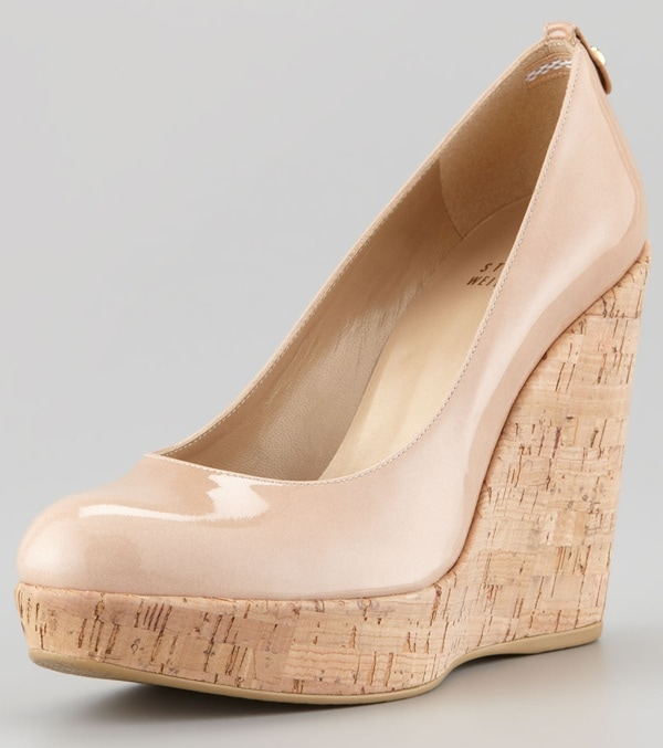 Stuart Weitzman Corkswoon Wedges in Nude Patent Leather
