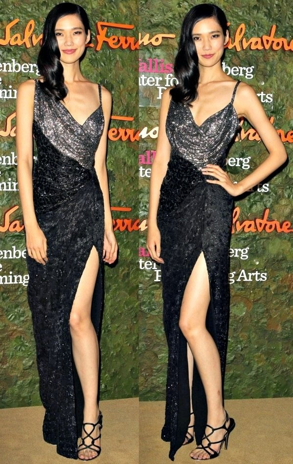 Tao Okamoto in a two-tone sequined dress at the 2013 Wallis Annenberg Center for the Performing Arts Inaugural Gala